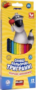 Олівці кольорові тригранні + чинка - 12 кольорів