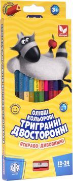 Олівці кольорові тригранні двосторонні + чинка - 24 кольори (12 шт.)