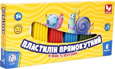 Пластилін прямокутний 6 кольорів