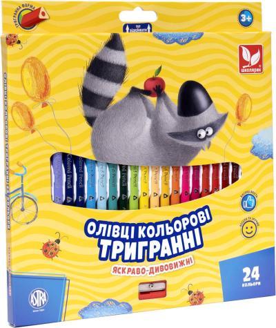 Олівці кольорові тригранні + чинка - 24 кольори